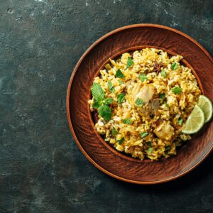 Filled with whole spices, spice blend, fresh herbs and tender chicken kofta is cooked with long grain basmati rice.