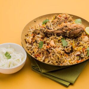 Straight from the dhabas Tawa Chicken Biryani, a Biryani Singh Special is a masaledar dhamaka. Like divine's Mirchi Mirch, this dish is packed with spices and flavors. Marinated overnight, the succulent chicken is tossed and blended with long grain basmati rice.